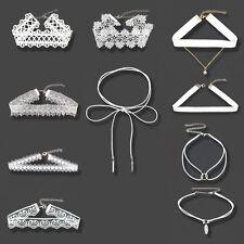 10pcs White Flower Lace Velvet Choker Necklace Chain Collar Punk Vintage Jewelry