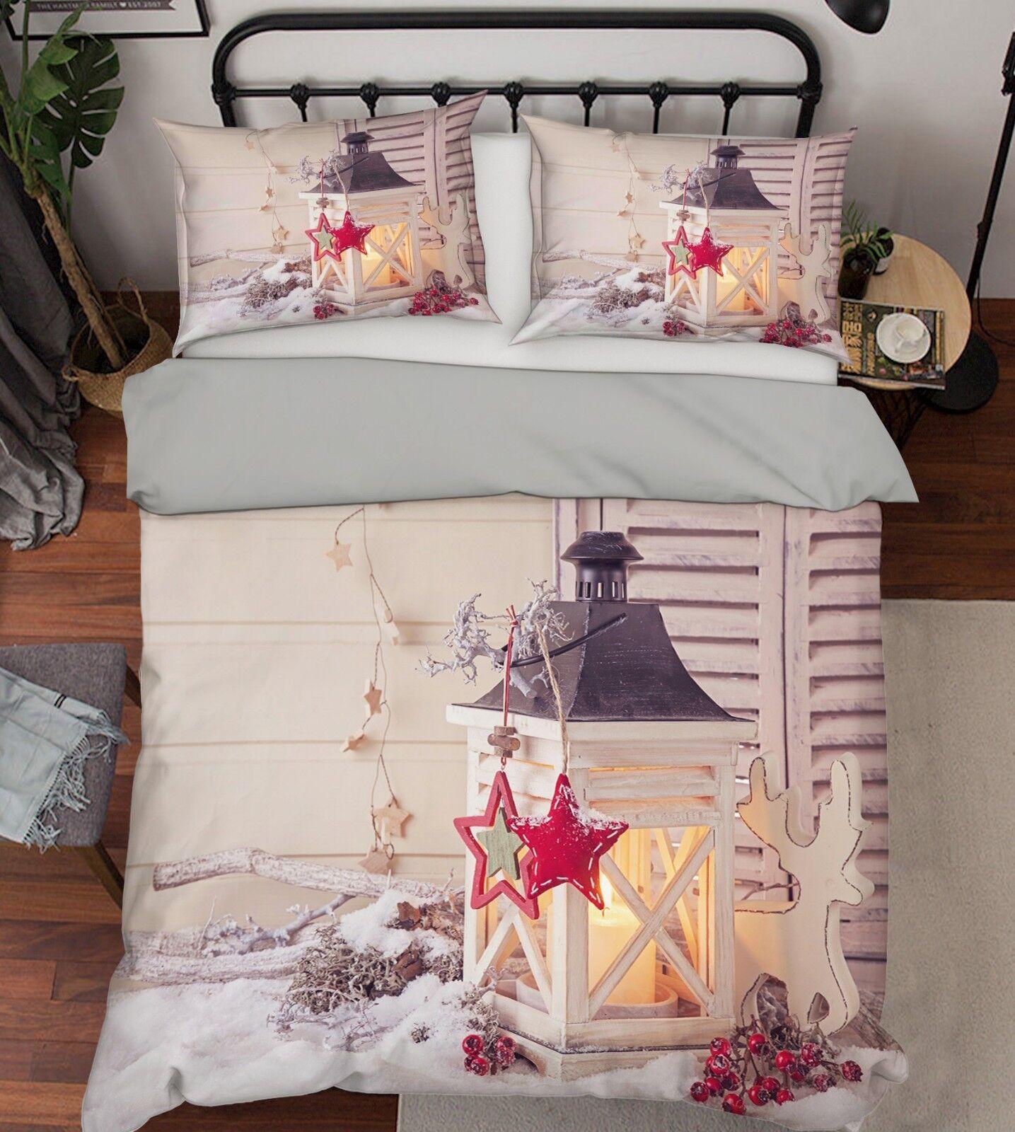 3D Christmas Xmas Light 98 Bed Pillowcases Quilt Duvet Cover Set Single Queen UK
