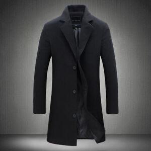 5d1ac338da2 Men s British Jacket Outwear Casual Wool Trench Winter Overcoat Warm ...