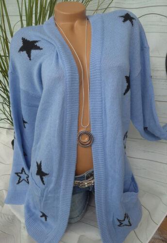 NEU Sheego Cardigan Strickjacke Gr 44//46 Blau Ton mit Sternen 136