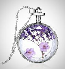 Pendant Necklace Round Shape Dried Pressed Purple Flower Mothers Day Gift