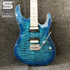 Quilted-Maple-Top-Lake-Blue-Electric-Guitars-Seymour-Duncan-Pickups-Chrome-Parts