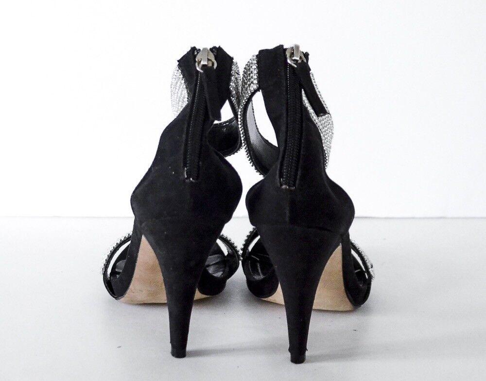 Francesco Milano by Marina Marina Marina Grey Black Suede Crystal Heels shoes 38, 7.5M 12d076