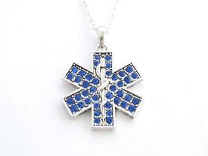 Paramedic star of life ems emt blue crystal silver chain necklace image is loading paramedic star of life ems emt blue crystal aloadofball Image collections