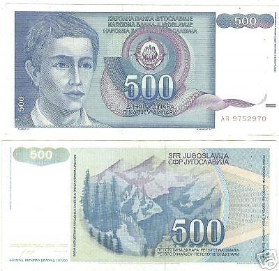 YUGOSLOVIA 500 DINERA HIGH DENOMINATION NOTE~FREE SHIPPING~WE HAVE BANKNOTES~