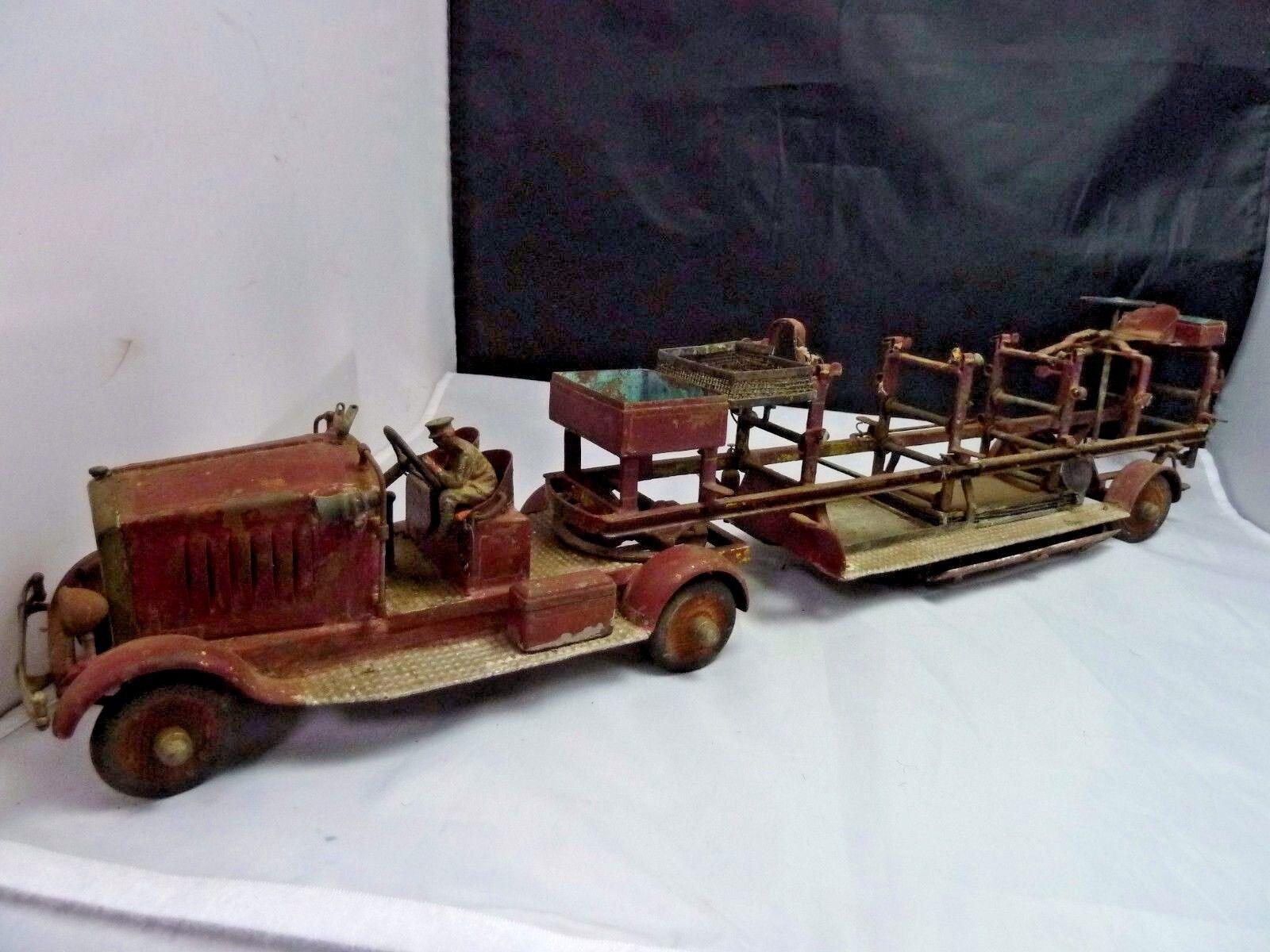 Antiguo Camión De Bomberos Bombero De Juguete De Metal Con 1