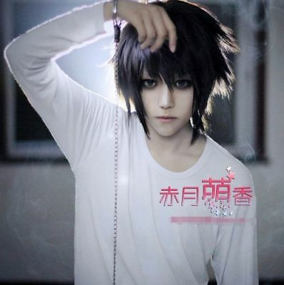 Anime Death Note L Lawliet Cosplay Wig Hair Cos Accessary Black Ebay
