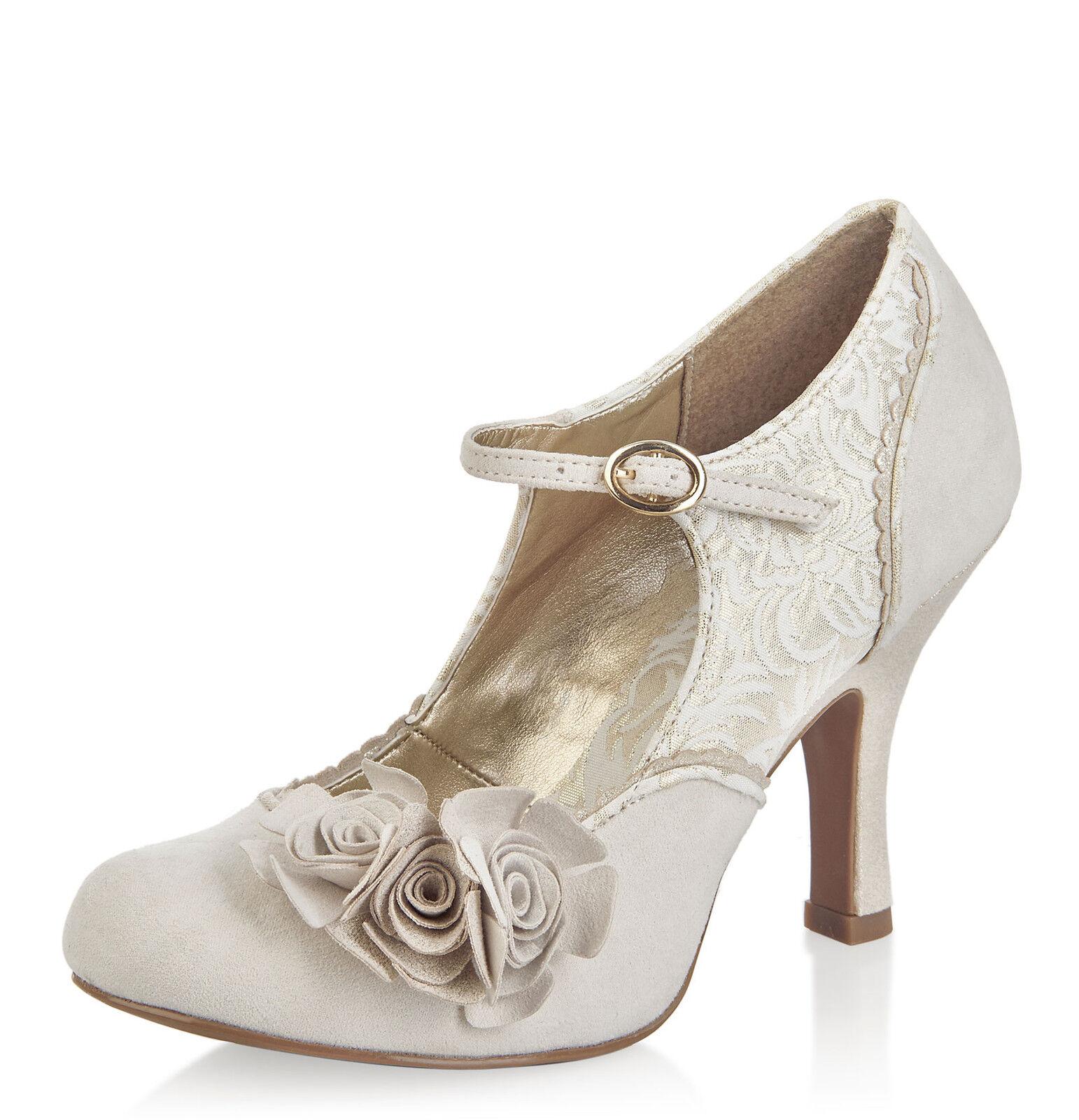RUBY SHOO EMILY CREAM GOLD FLOWER MARY JANE VINTAGE BRIDAL HIGH HEEL SHOES 3-9