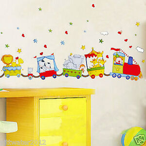 Image Is Loading Cartoon Animal Circus Train Removable Wall Sticker Home