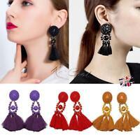 Women Fashion Rhinestone Long Tassel Dangle Earring Boho Fringe Drop Earrings