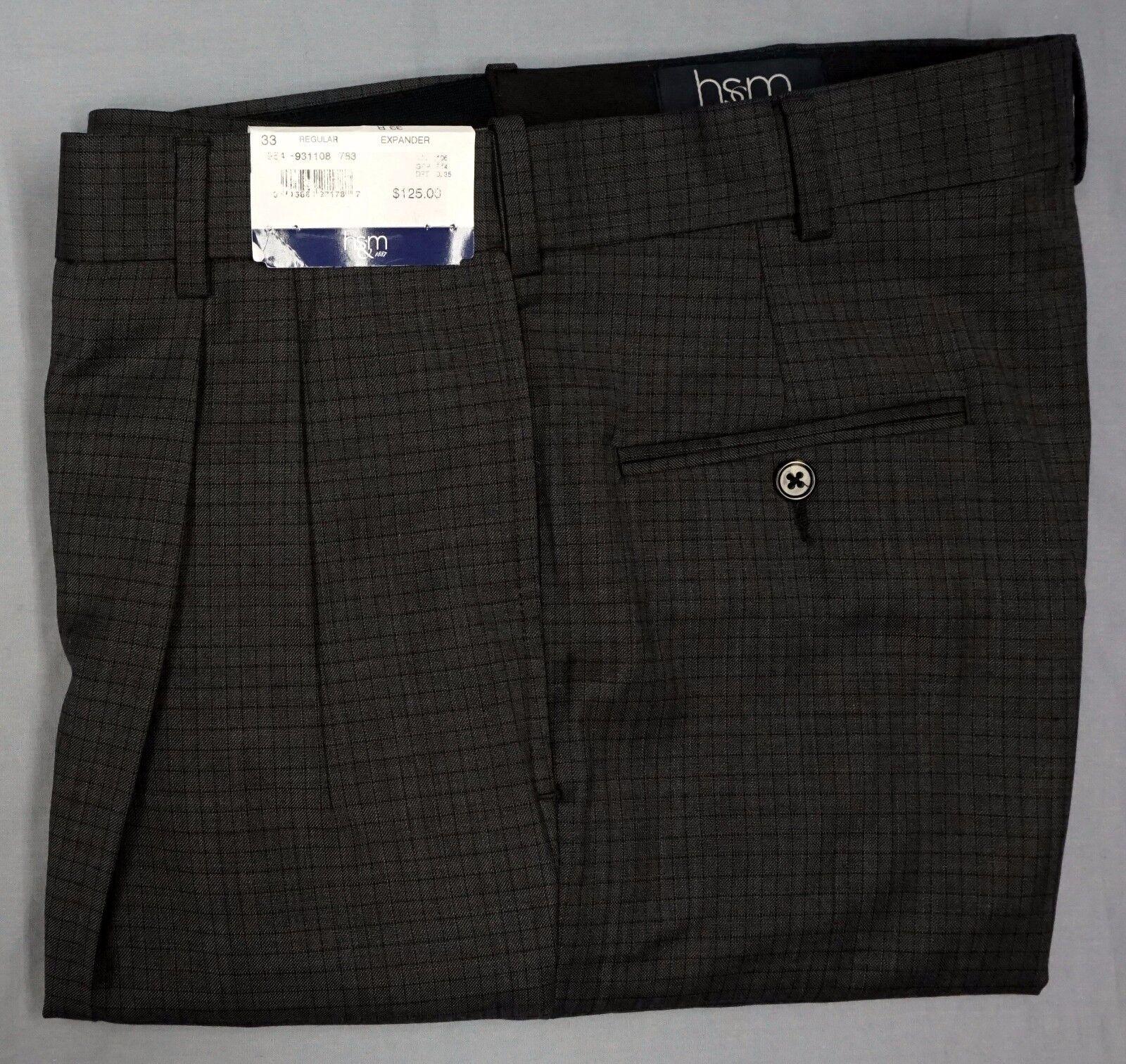 NWT  HART SCHAFFNER MARX GREY DRESS PANTS PLEAT EXPANDER 33R 34R 35R PLAID