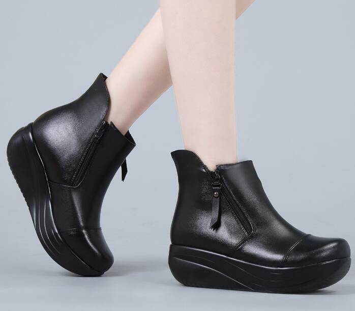 Womens Leather High Wedge Platform Creepers Ankle Riding Boots shoes shoes shoes G626 4791d4
