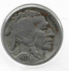 Rare Old Antique 1937 US Buffalo Indian Nickel Collection Great USA Coin LOT:V65