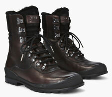 John Varvatos Burnished Calf Leather & Sheepskin Heyward Hiker Boots 9.5 US Fur