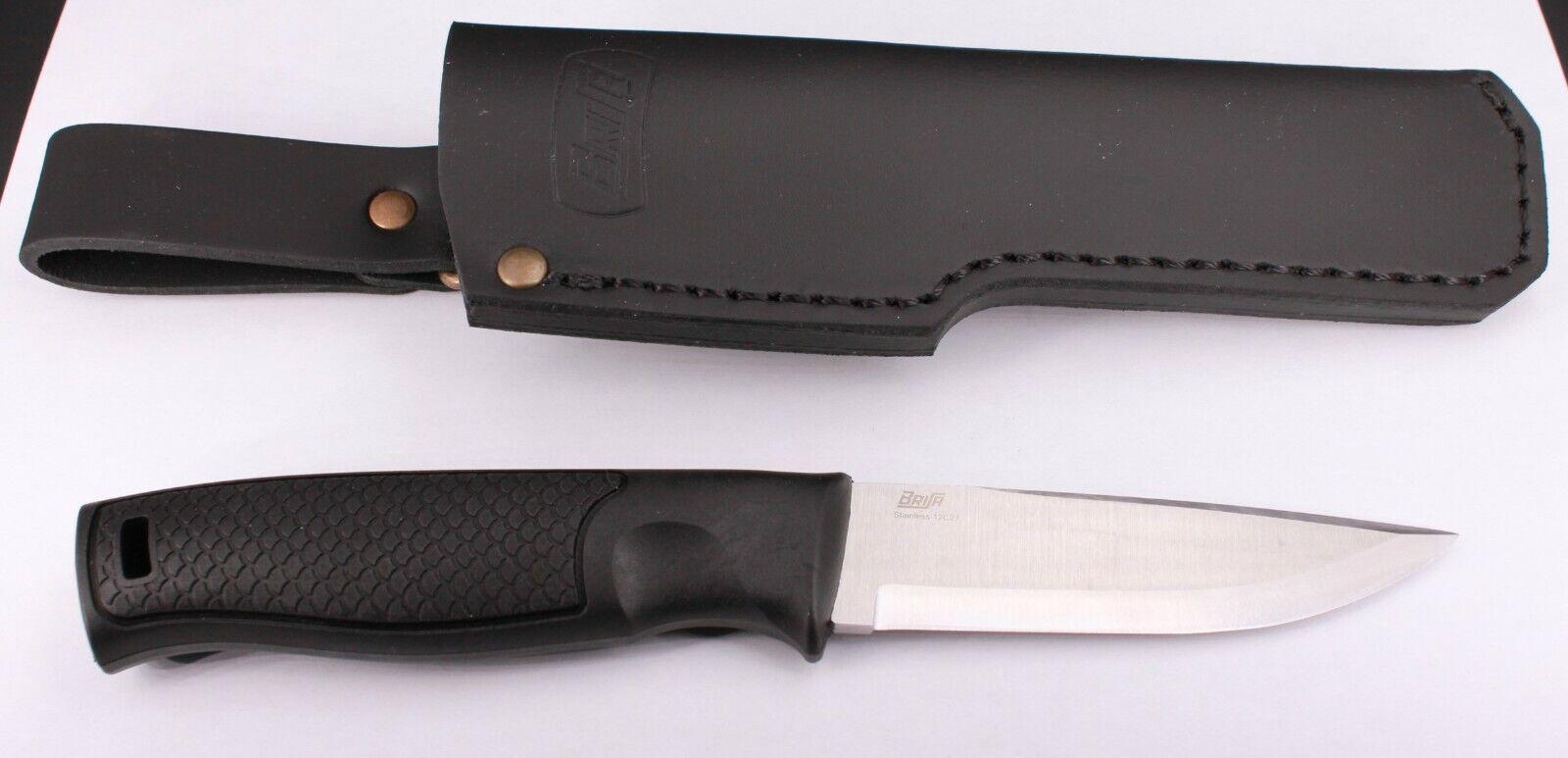 Messer BRISA Hiker 95 Scandi mit Kunststoffgriff und Lederscheide