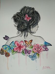 Acuarela * watercolor * Chica * Pintura original * flores * mariposas * pintura