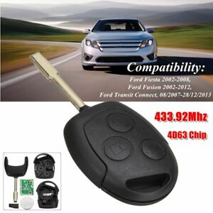 Cle-Telecommande-433-92Mhz-4D63-Chip-pour-Ford-Fiesta-Fusion-Transit-Connect