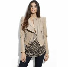 BCBG MAX AZRIA  SOY CHAI MOTO ZIPPERS LEATHER JACKET BEIGE SIZE XS $995 SOLD OUT
