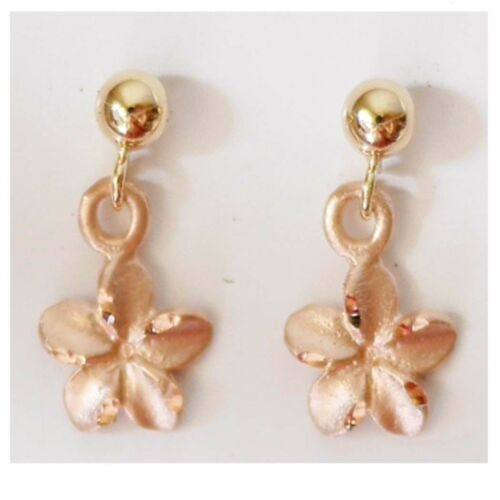 E2531-90 14K Solid Rose Gold Plumeria Dangle Earring 1//4 inches 6 mm