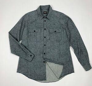 Schott-nyc-shirt-camicia-uomo-usato-L-sportwear-grigio-used-manica-lunga-T5860
