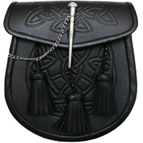 Men's Scottish Celtic Tartan Pin Thistle Embossed Black Kilt Sporran