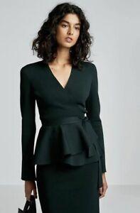 SCANLAN-THEODORE-crepe-knit-skirt-pencil-knee-dark-forest-green-pencil-work-L