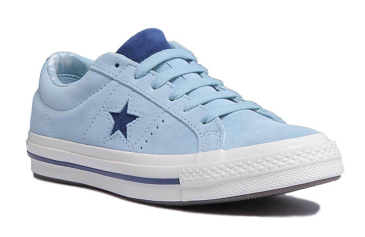 Converse Chuck Taylor Star Ox Damens Suede Light Blau - Trainers Größe UK 3 - Blau 8 324eba