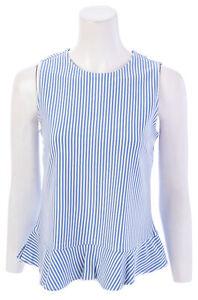 ANN-TAYLOR-FACTORY-Striped-Sleeveless-Peplum-Top