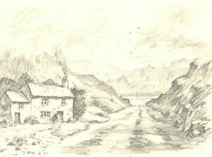 John A. Case - Set of Three Graphite Drawings, Cottage Studies