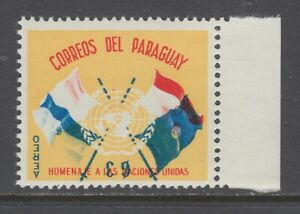 Paraguay-Sc-C272-MNH-1960-3g-UN-Crossed-Flags-Inverted-Center-VF