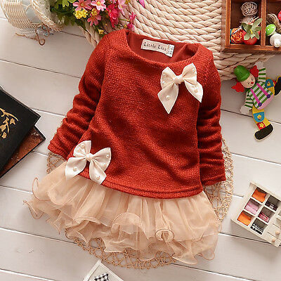 2015 Baby Girls Knit Tops Butterfly Bowknot Princess Party Tutu Tulle Dress 0-3Y