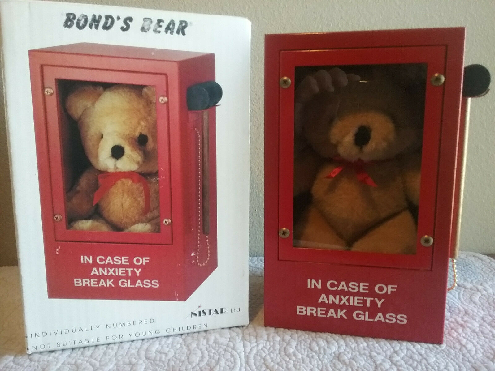 ANXIETY BEAR in Emergency  Alarm Box  Based on the 1990 drawing by Simon Bond,