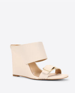 Ann-Taylor-Woman-039-s-Size-9-5-Helene-Leather-Wedge-Mule-Sandals-128-00