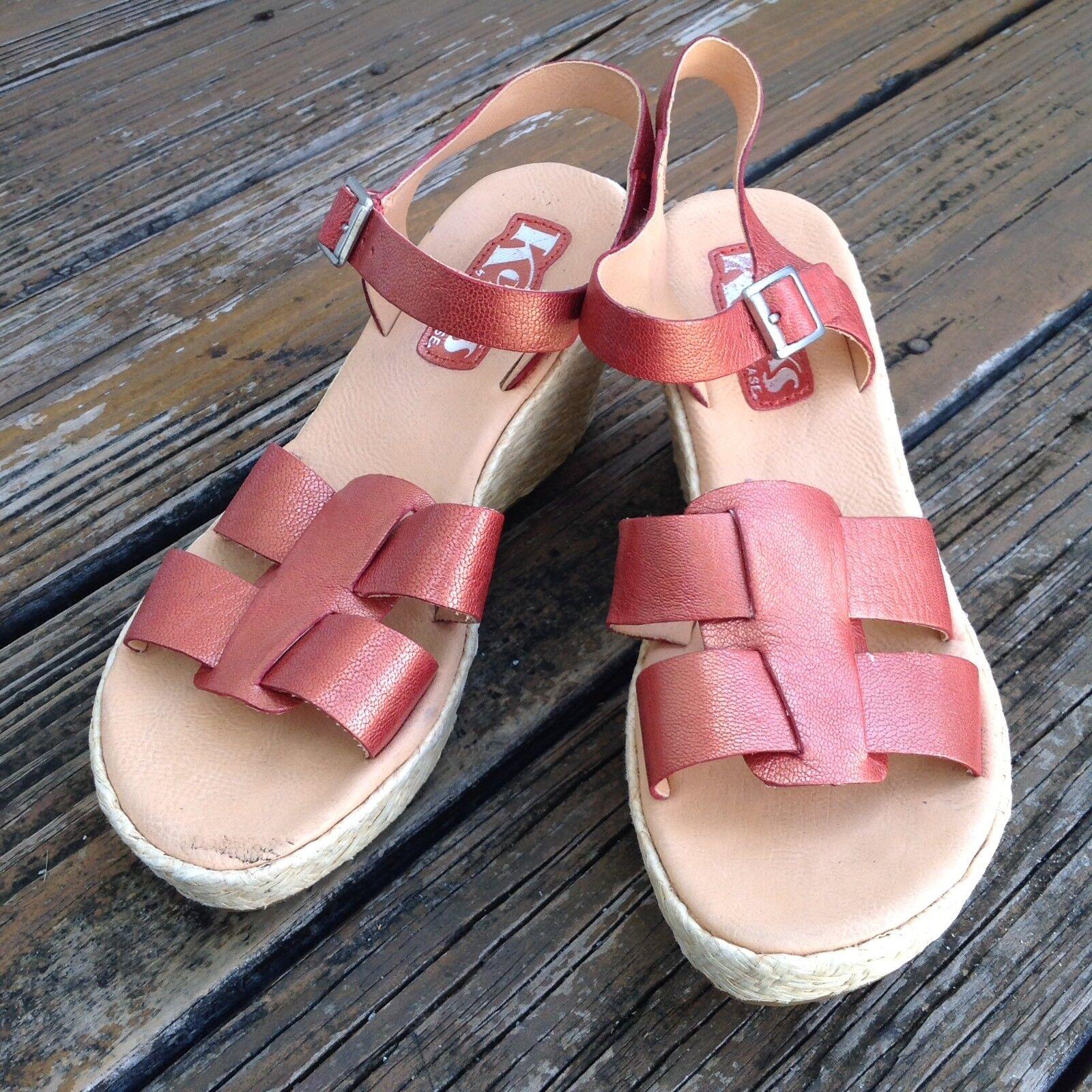Kork ease Sandalias De Cuña Con Plataforma Puntera Abierta Metálico Metálico Metálico 7 EU 38 calzado de cuero para mujer  tienda de ventas outlet