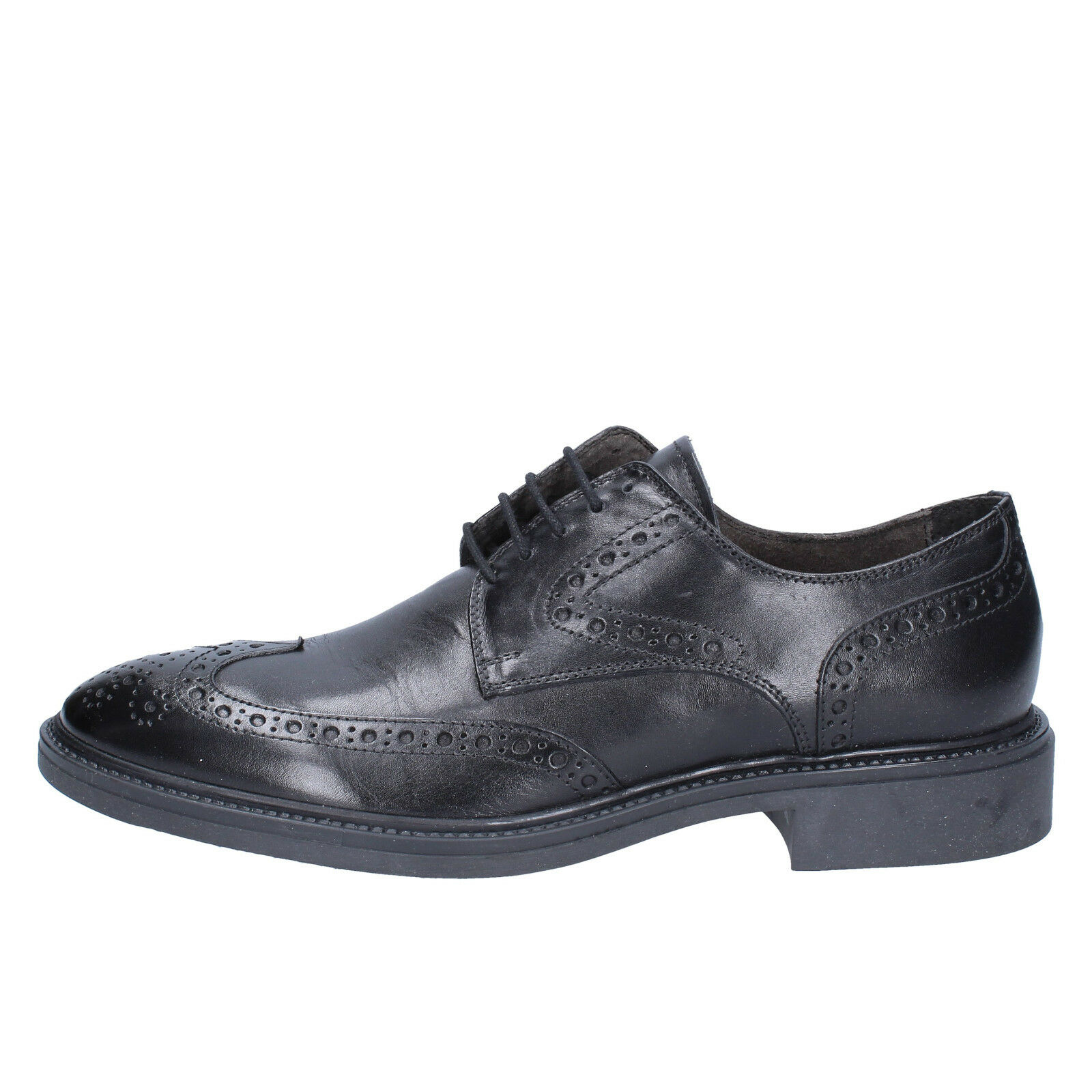 Mens shoes WILLY ADAMS 10 (EU 44) elegant black leather BX584-44