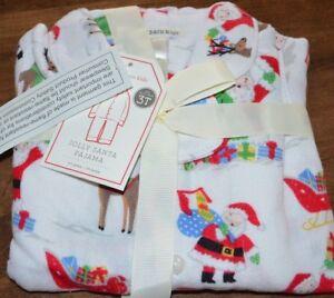 Pottery Barn Kid Jolly Santa Loose Fit Flannel Pajamas