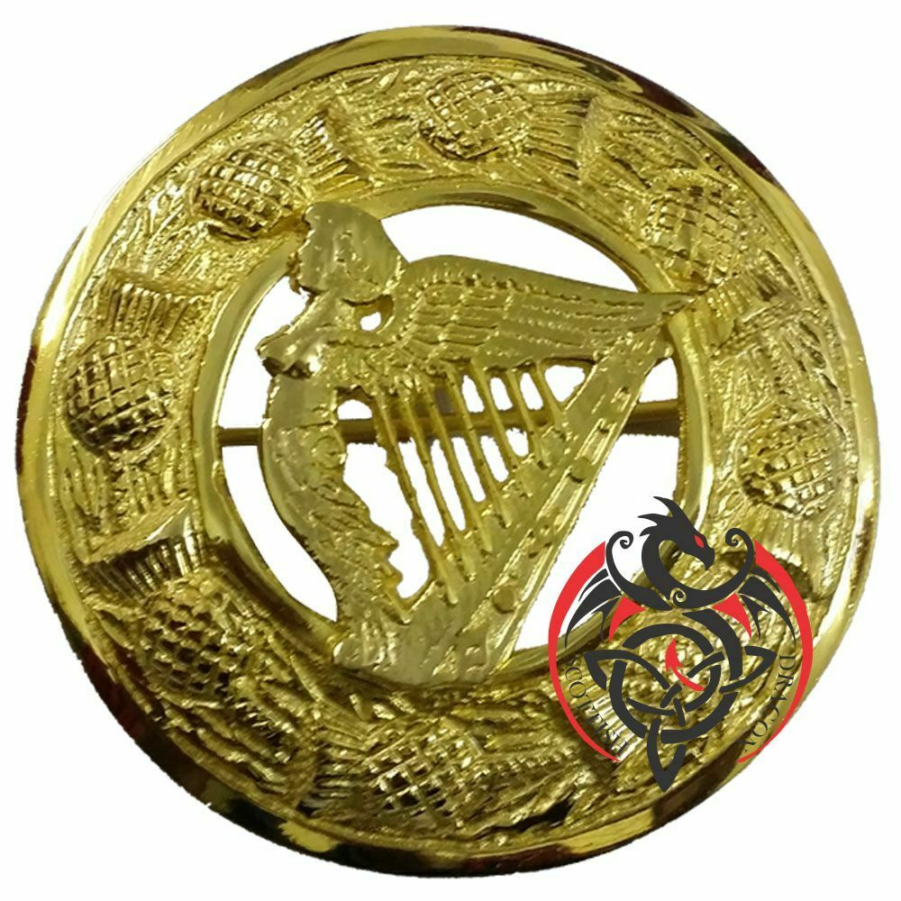 Scottish Kilt Fly Plaid Brooch Irish Harp Gold Finish 3