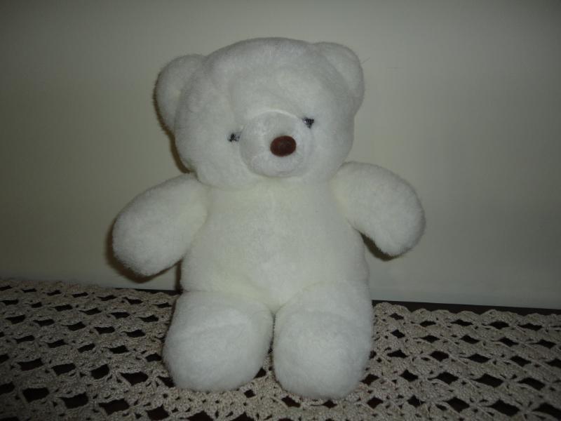 Vintage Weiß Teddy Bear 11 Inch