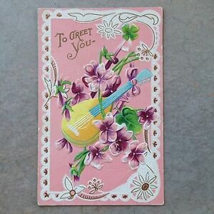To-Greet-You-Vintage-Postcard-Gold-Embossed-Mandolin-Instrument-Pink-Floral-647