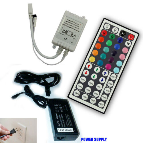 44 Key IR Remote Controller fo RGB LED Strip Light + 12V 6A Power Supply Adapter