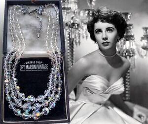 VINTAGE 1950s AURORA BOREALIS CLEAR CRYSTAL TRIPLE STRAND NECKLACE BRIDAL GIFT