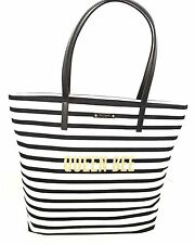 NWT $159 KATE SPADE QUEEN BEE Bon Shopper down the rabbit hole - Black/White
