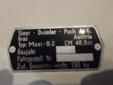 Typenschild Steyr Puch AG Schild id-plate Maxi S 2 Gang S2  Mofa s24