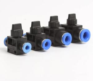 Pneumatik Druckluf Absperrventil Absperrhahn Kugelhahn Schnellverbinder 4-10mm