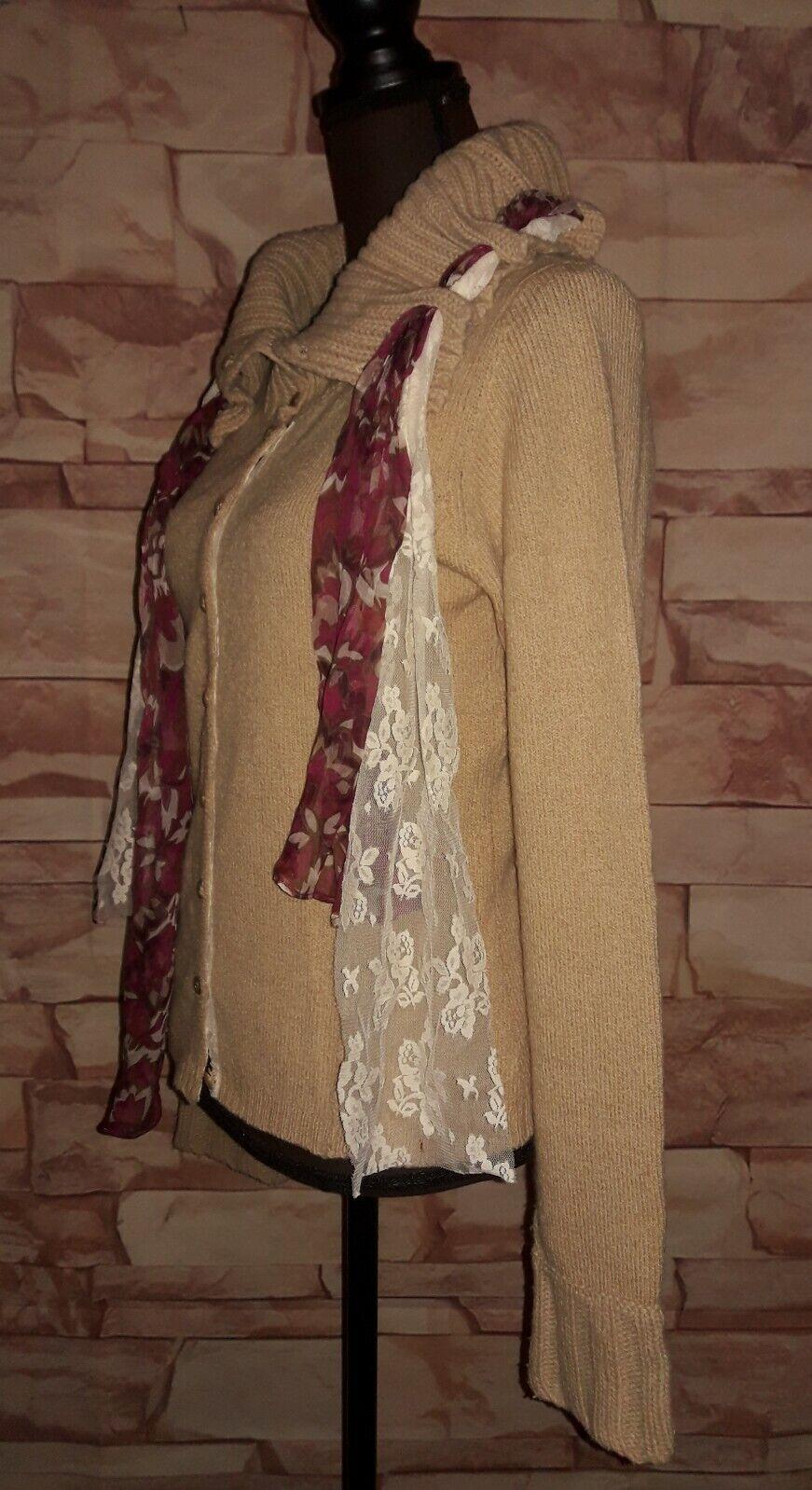 Moth Anthropologie Lace Through Scarf Detail Wool Blend Cardigan Sweater Size M