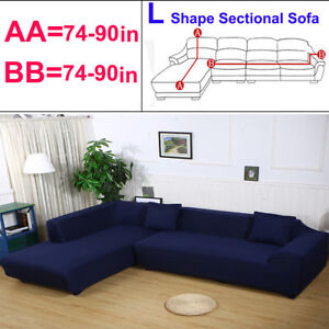 Details zu Stretch L Shape Sectional Corner Sofa Cover Couch Slipcover Fit  3+3 Seater Blue