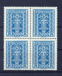 Österreich 1918-1944 Ank 395** 2000 Kronen Blau Viererblock Top-postfrisch Hoher Katalogwert 104 Euro