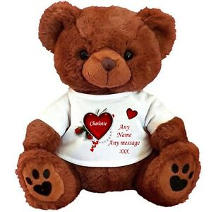 "PERSONALISED BROWN TEDDY BEAR 25cm/10"" SITTING VALENTINES DAY  BIRTHDAY  GIFTS"
