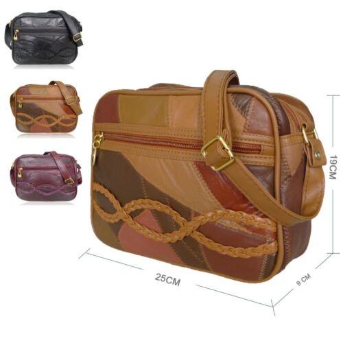 Leather Patch Vintage Holdall Crossbody Satchel Messenger Bag