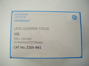 Whatman-Lens-Cleaning-Tissue-Grade-105-100x150mm-25-Wallets-of-25-Sheets